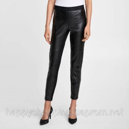 Женские черные леггинсы с вставкой из кожзама Karl Lagerfeld