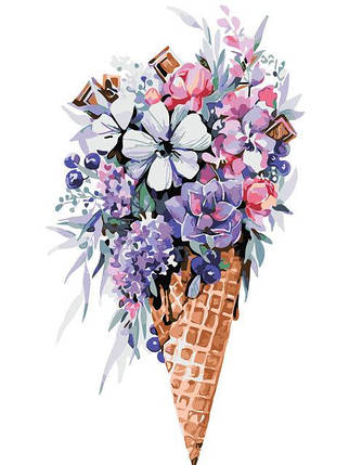 AS0318 Раскраска по номерам Цветочное мороженое, фото 2
