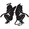 Виниловая наклейка - Ангел и Демон (от 15х12 см)