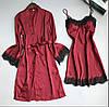Шелковый халат и пеньюар бордовый М (42-44)