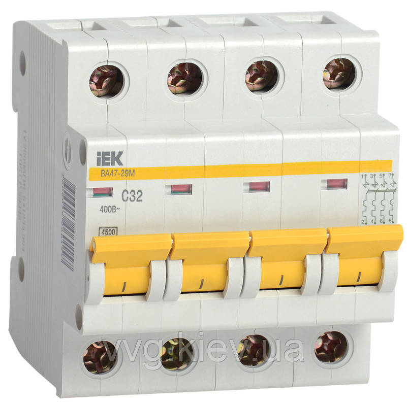Автоматический выключатель ВА47-29М 4P 2A 4,5кА IEK
