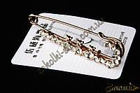 Брошь декоративная булавка с камнями, цвет: золотистый , длина: 7,5 см, 1 штука