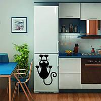 Виниловая наклейка на холодильник - Кот ползёт (от 15х5 см)
