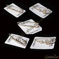Брошь декоративная булавка с камнями, цвет: золотистый , длина: 7,5 см, 5 штук разных видов