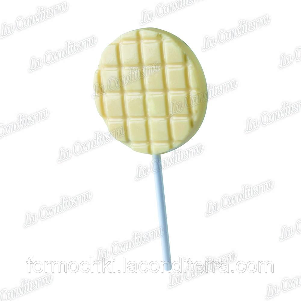 """Пластиковая форма для десерта на палочке """"Вафля круглая"""" (6 см)"""