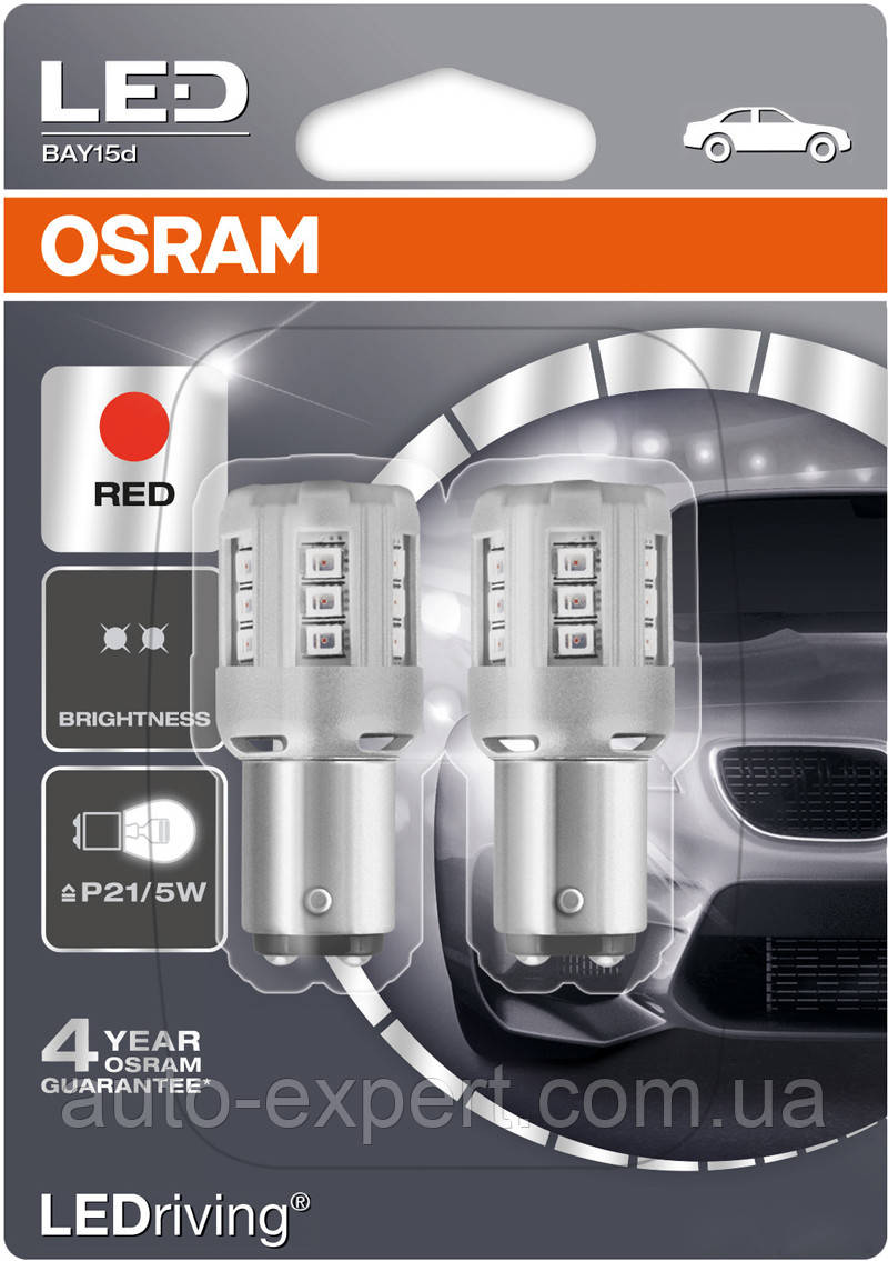 "Светодиодные лампы ""Osram"" P21/5W LEDriving (RED)(12V)"