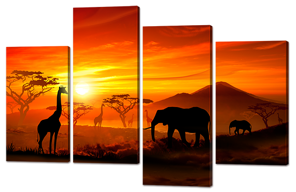 Панно з 4-ох частин Африканські прерії 114*74 см Код: W731