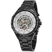 ✗Стильные часы Winner F110610 Black мужские автоматические механические круглые