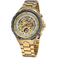 ☀Элегантные часы Winner F110610 Gold мужские автоматические круглые с стальным ремешком