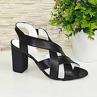 Черные кожаные босоножки на высоком каблуке. 38 размер