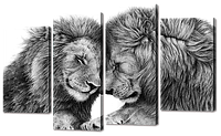 Модульная картина два Льва 114*69 см Код: W755