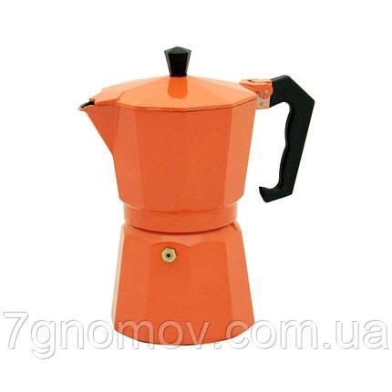 Гейзерная кофеварка Молли оранжевая 300 мл, фото 2
