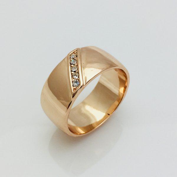 Кольцо женское Fallon, Широкое с полоской циркония размер   22 ювелирная бижутерия