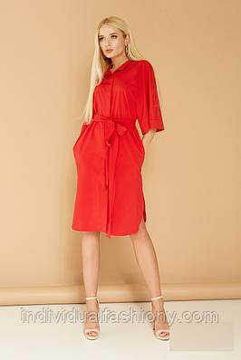 Платье-рубашка миди с потайной застежкой
