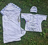 Набор для крещения белый, голубые рюшки (крыжма+рубашка на завязочках+чепчик с крестиком) интерлок, фото 1