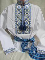 """Вышиванка для мальчика сине-желтая """"Волелюб"""" 116-158"""