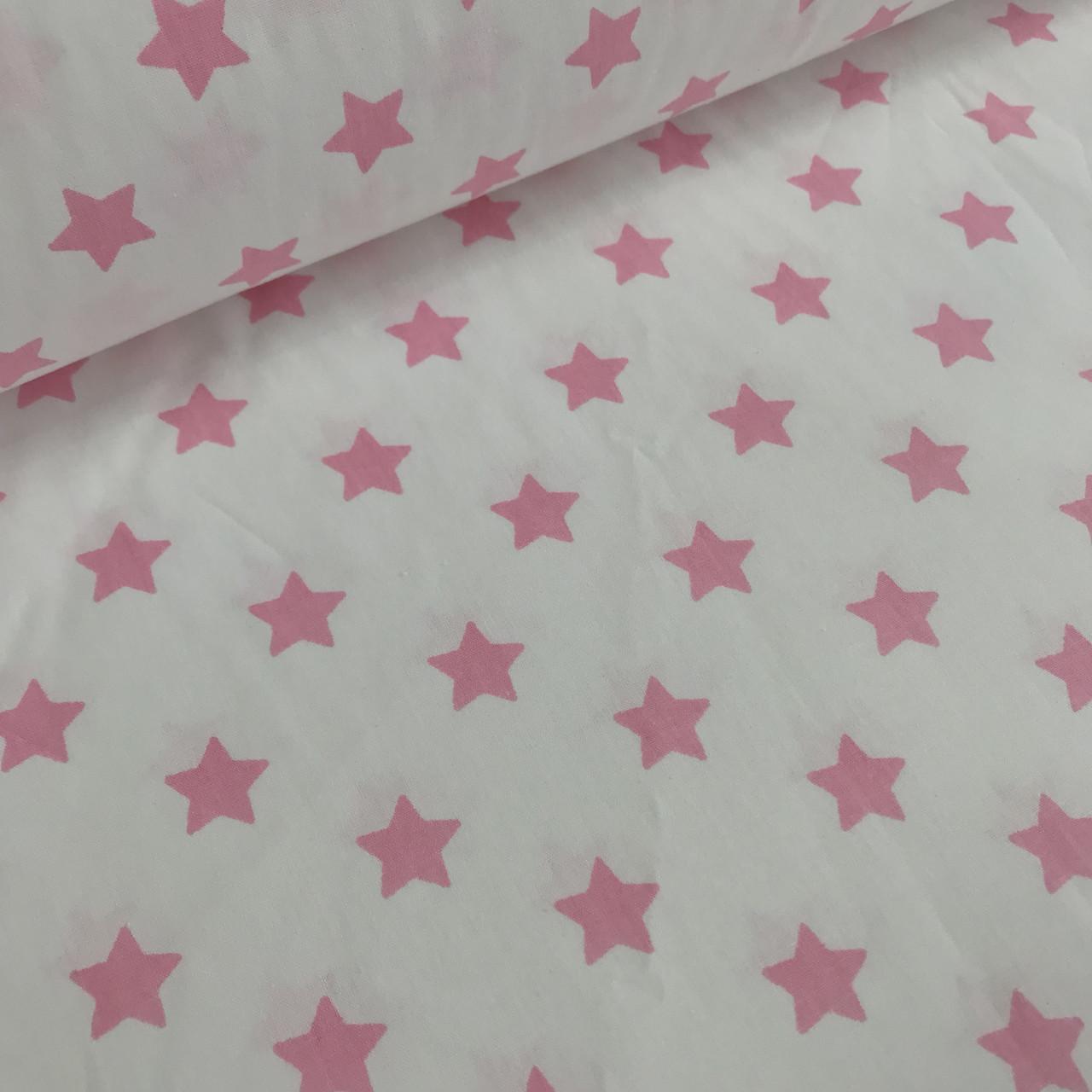 Ткань поплин звезды мелкие розовые на белом (ТУРЦИЯ шир. 2,4 м) № 33-19