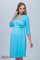 Халат для беременных и кормящих мам SINTY, из плотного хлопкового трикотажа, голубой, фото 1