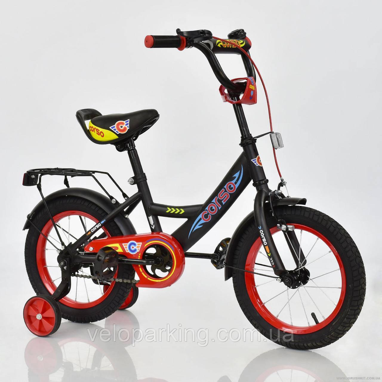 """Велосипед 14"""" дюймов 2-х колёсный С14340 """"CORSO"""" ЧЕРНЫЙ"""