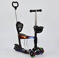 Самокат-беговел 5 в 1 детский трехколесный Абстракция Best Scooter, светящиеся колеса PU