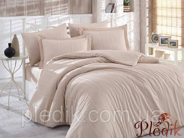 Комплект постельного белья евро Бежевый однотонный