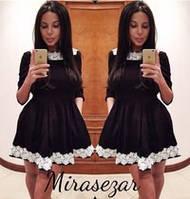 Платье черное с украшением кружево в цветочек(р42-52)