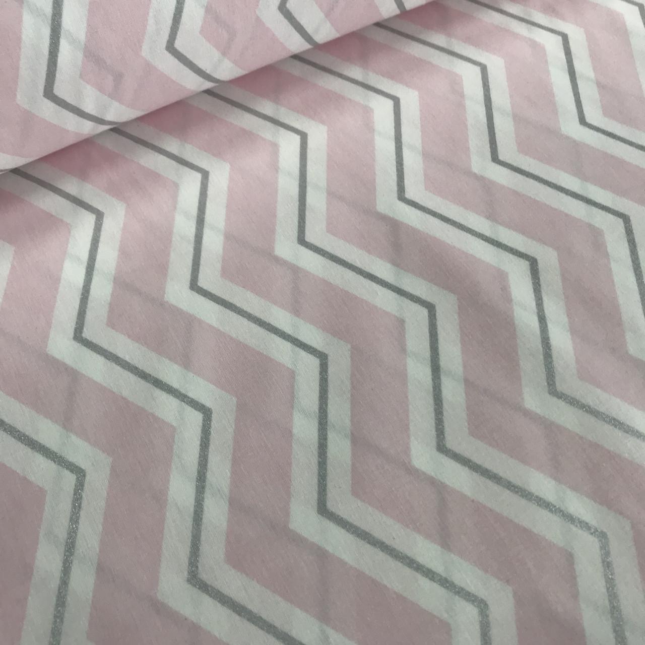 Ткань поплин зигзаг розовый широкий с серебряным глиттером (ТУРЦИЯ шир. 2,4 м) № 33-29