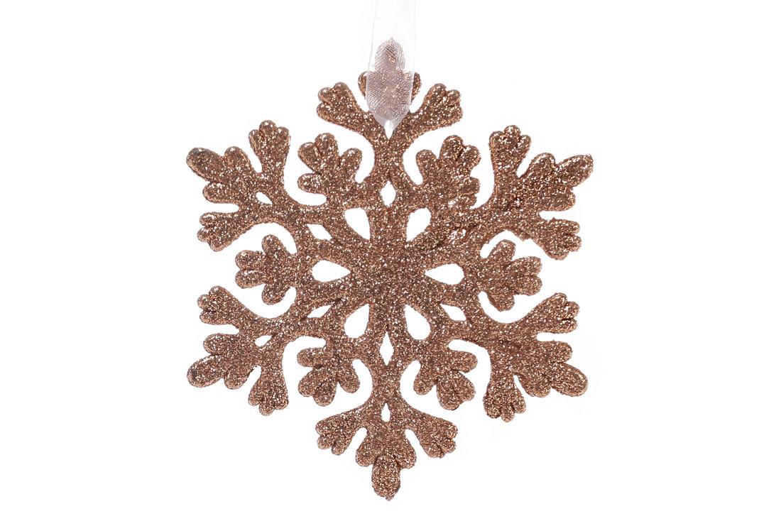 Елочная подвеска Снежинка 9см цвет - медь (788-395)