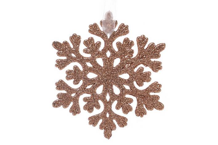 Елочная подвеска Снежинка 9см цвет - медь (788-395), фото 2