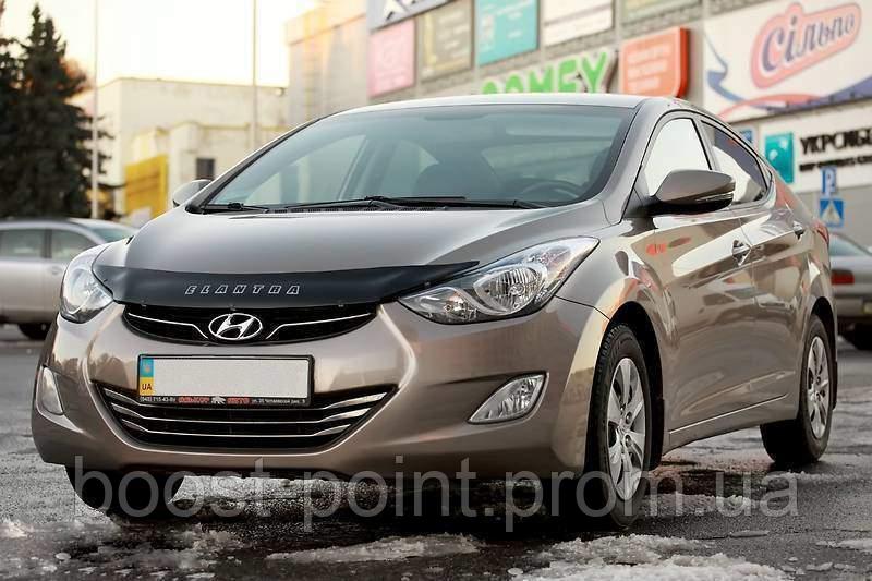 Дефлектор капота (мухобойка) Hyundai elantra md (хюндай елантра мд 2012+)