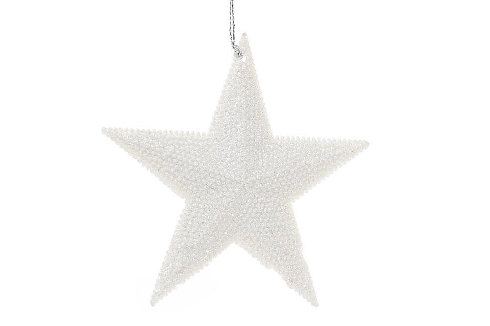 Елочная подвеска Звезда 11см цвет - белый (788-342)