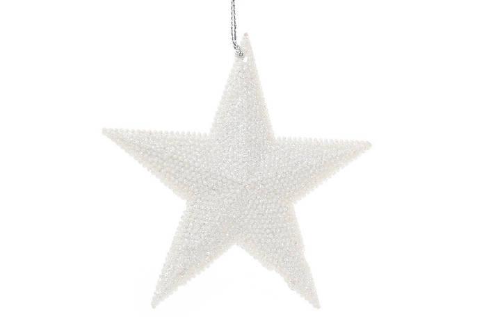 Елочная подвеска Звезда 11см цвет - белый (788-342), фото 2
