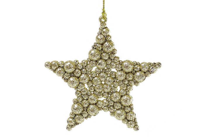 Елочная подвеска Звезда 9.5см цвет - золото, пластик, в упаковке 45шт. (788-343), фото 2