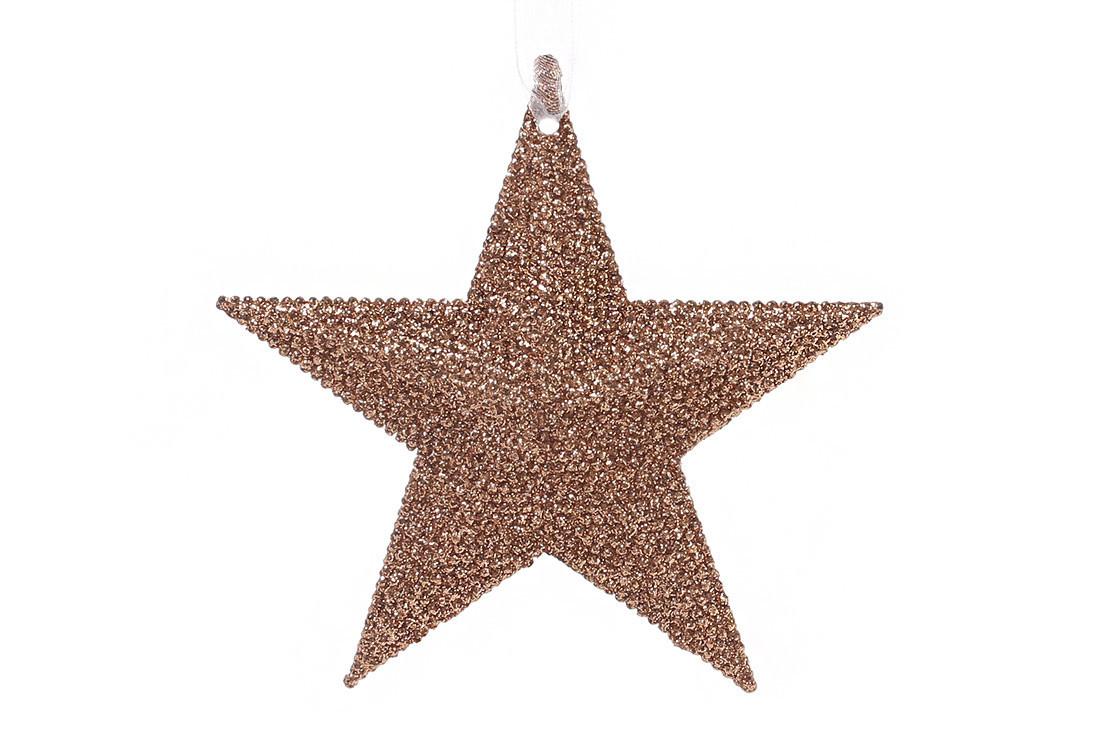 Елочная подвеска Звезда 11см цвет - медь (788-375)