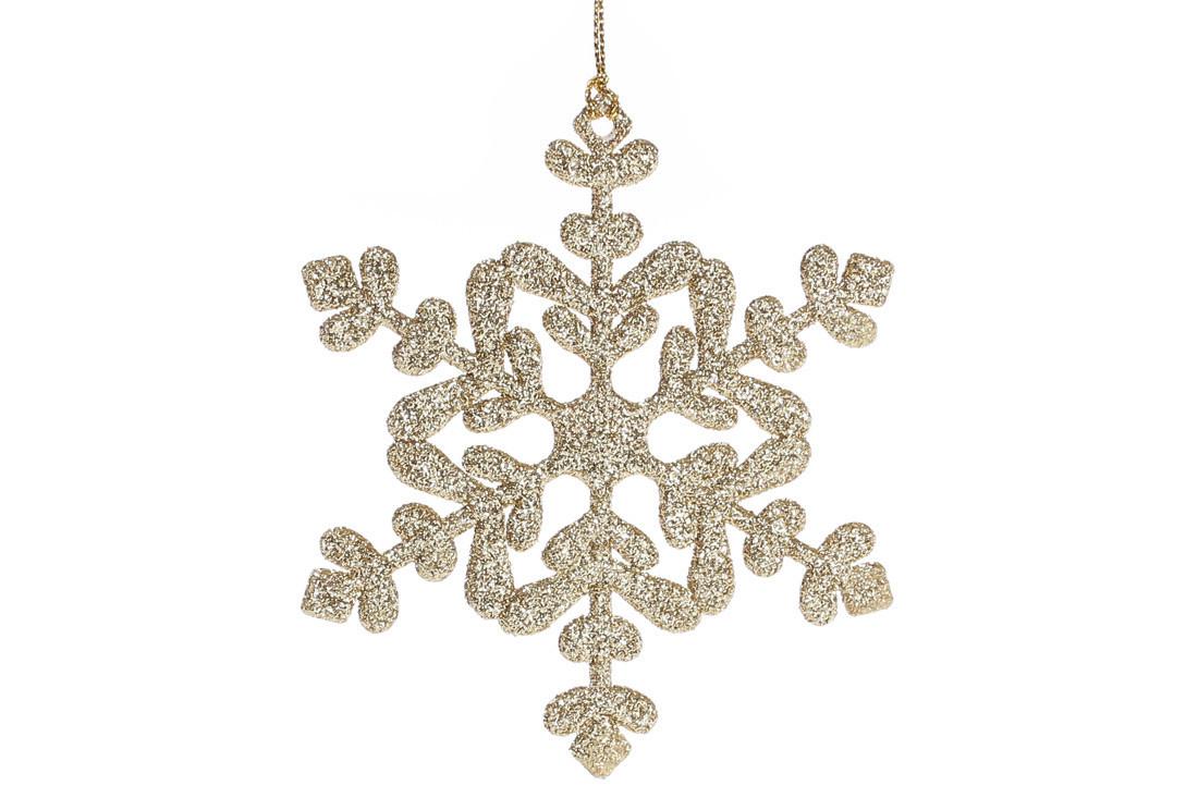 Елочное украшение Снежинка 11см цвет - золото (788-479)