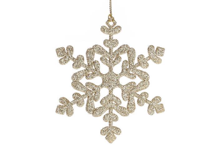 Елочное украшение Снежинка 11см цвет - золото (788-479), фото 2