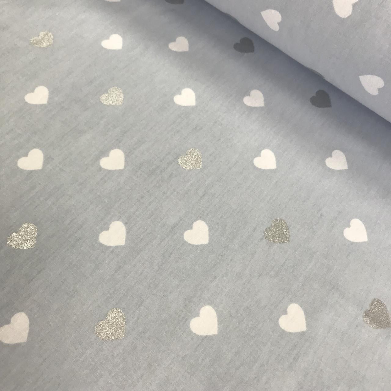 Ткань поплин сердца белые и серебряные (глиттер) на голубом (ТУРЦИЯ шир. 2,4 м) № 33-31
