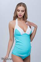 Купальник-танкини для беременных MIAMI, голубая лагуна с белым