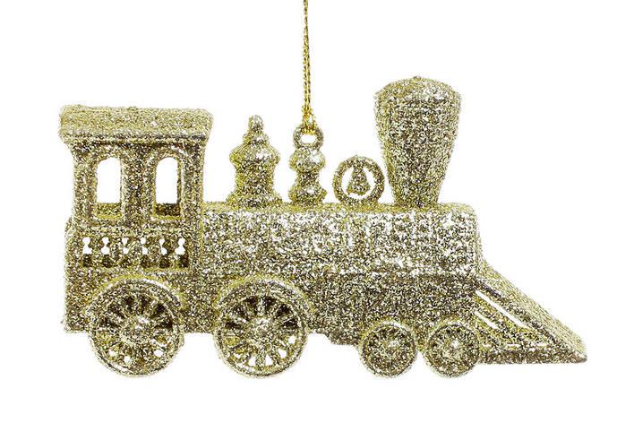 Елочное украшение Паровозик 11см цвет - золото (788-352), фото 2
