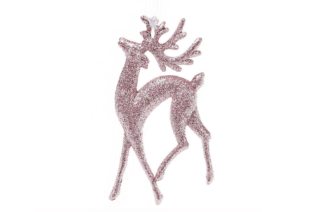 Елочная подвеска Олень 14см цвет - светло-розовый, пластик, в упаковке 45шт. (788-390)