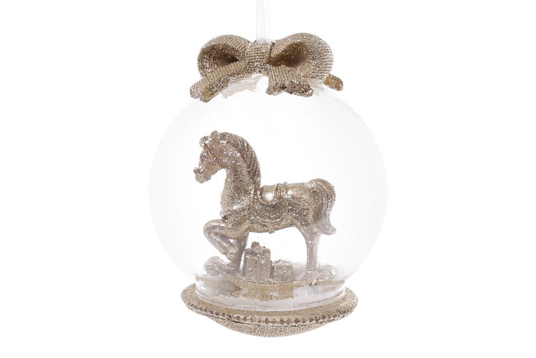 Елочный шар 8см с фигуркой Лошадка и бантом цвет - шампань (829-303)