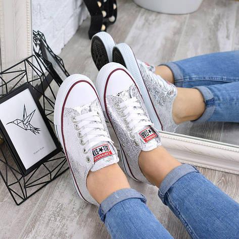 """Кроссовки, кеды, мокасины """"Converse"""" серебро, эко кожа на ровном ходу повседневная, спортивная, удобная обувь, фото 2"""