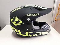 Шлем Helmo кроссовый чёрно-салатовый матовый