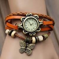 Часы - браслет с бабочкой оранжевые
