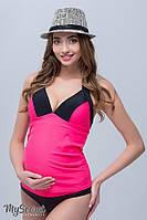 Купальник-танкини для беременных MIAMI, неоновая малина с черным