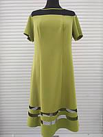 Платье нарядное расклешенное оливковое с черным гипюром большого размера