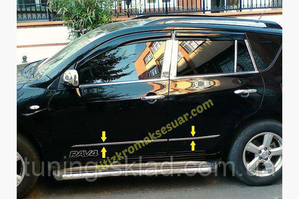 Хром молдинг дверей Toyota Rav 4  2006-2013 (Тойота)