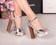 Женские босоножки  серебро   каблук 14,5 см, фото 1