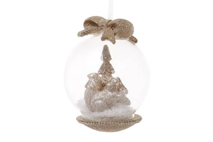 Елочный шар 8см с фигуркой Белка и бантом цвет - шампань (829-300), фото 2