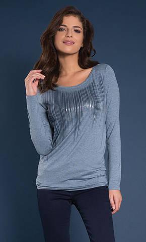 Женская трикотажная блуза Fonni Zaps джинсового цвета. Коллекция осень-зима 2018-2019